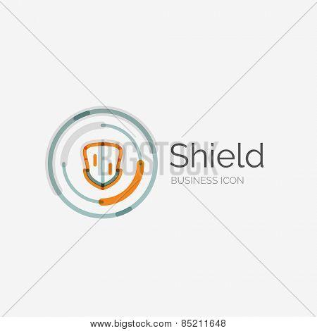 Thin line neat design logo, clean modern concept, shield icon