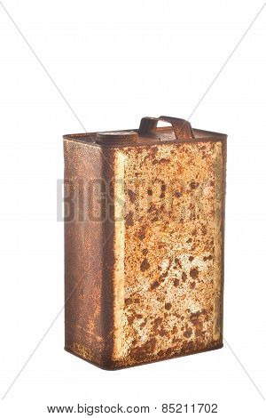 Rusty bucket isolated on white background, texture