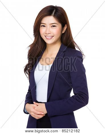 Portrait of young smiling businesswoman isolated on white background