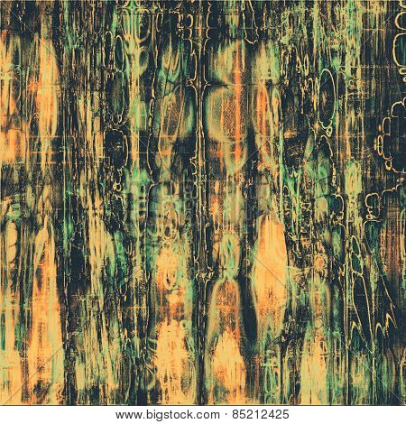 Old abstract grunge background, aged retro texture. With different color patterns: yellow (beige); green; black