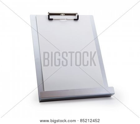 Silver vertical clipboard or paper stand, isolated on white. Focus is on the upper clipboard clip section.