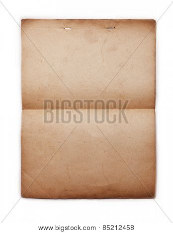1950s Old paper with stapled top, isolated on white.
