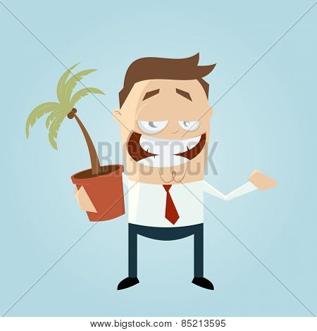 funny cartoon man with houseplant