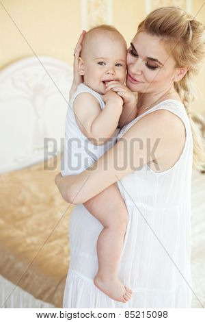 Portrait of a mother with her 1 year old baby