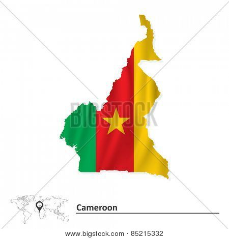 Map of Cameroon with flag - vector illustration