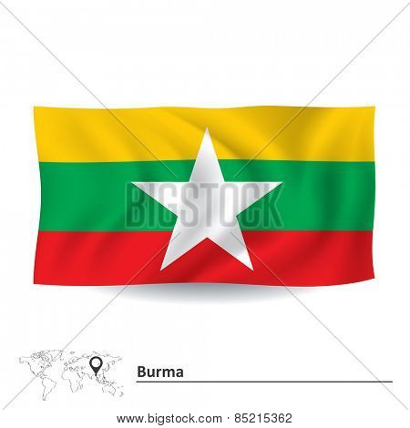 Flag of Burma - vector illustration