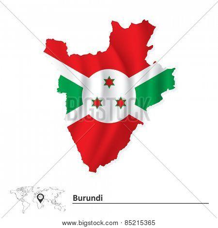 Map of Burundi with flag - vector illustration