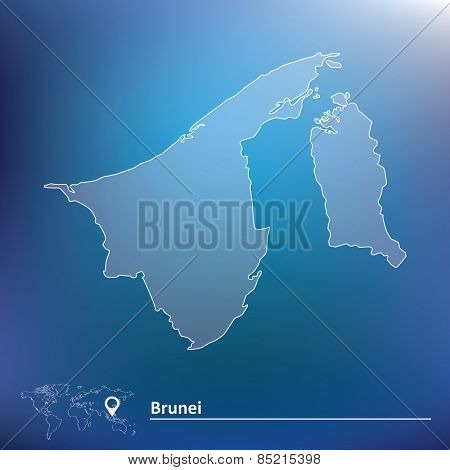 Map of Brunei - vector illustration