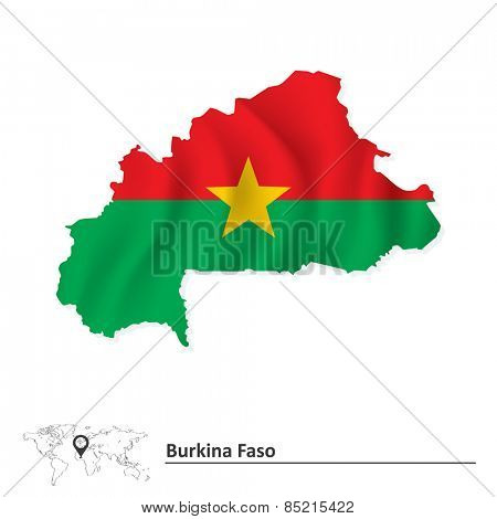 Map of Burkina Faso with flag - vector illustration