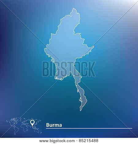 Map of Burma - vector illustration