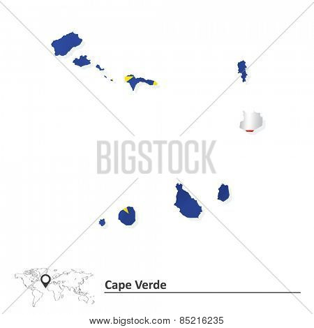 Map of Cape Verde with flag - vector illustration