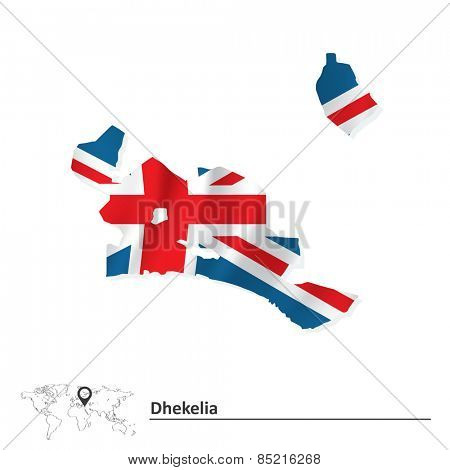 Map of Dhekelia with flag - vector illustration