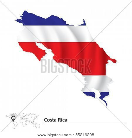 Map of Costa Rica with flag - vector illustration