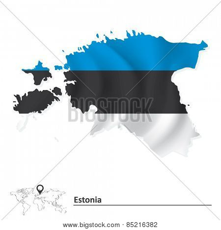 Map of Estonia with flag - vector illustration