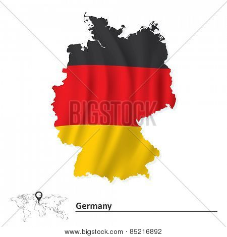 Map of Germany with flag - vector illustration