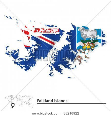 Map of Falkland Islands with flag - vector illustration