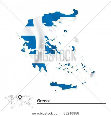 Map of Greece with flag - vector illustration