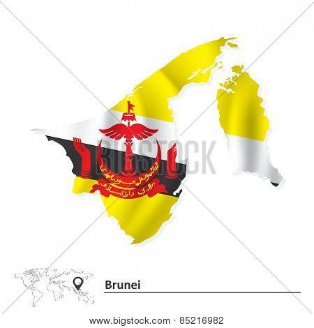 Map of Brunei with flag - vector illustration