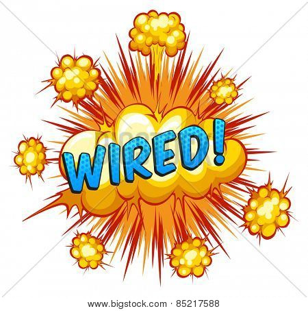 Word wired with cloud explosion background