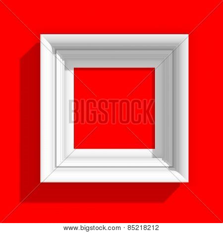 Empty Picture Frame on Red Background. Vector Illustration