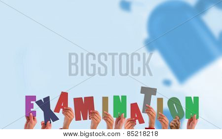 Hands holding up examination against blue medical background with pills