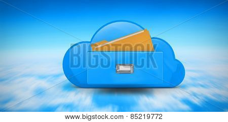 Cloud computing drawer against blue sky over clouds at high altitude