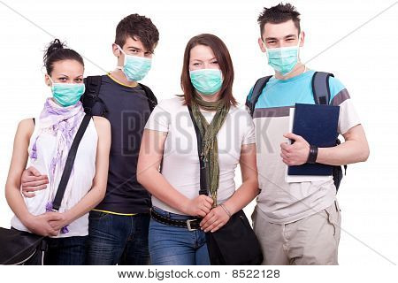 Teenagers With Masks For Protection