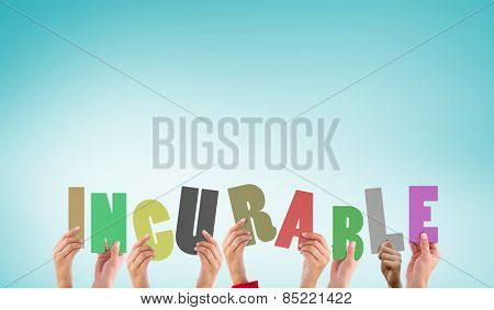 Hands holding up incurable against blue vignette background