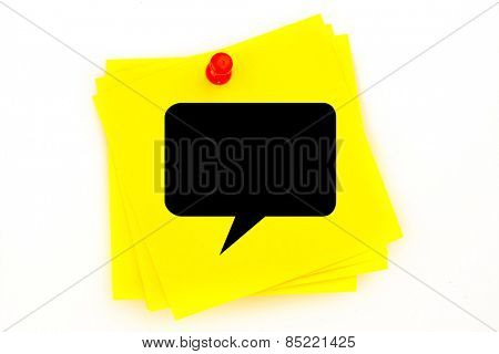 Speech bubble against sticky note with red pushpin