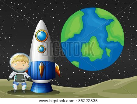 Astronaunt standing on planet with earth background