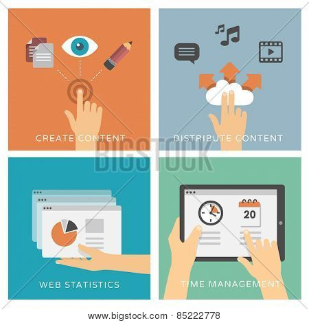 Create and distribute content too media, web analytics & time management - set of flat design illustrations / icons