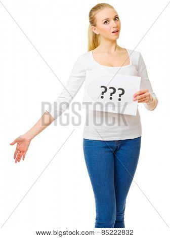 Young girl in blue jeans with question placard isolated