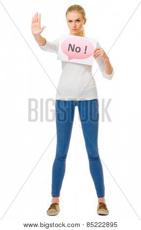 Young girl in blue jeans with