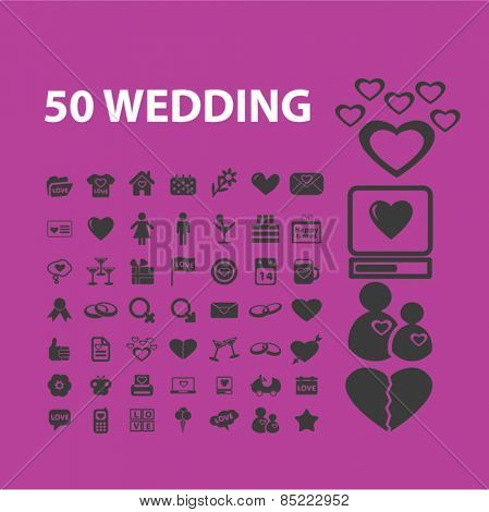 50 wedding, romance, relations icons, signs, illustrations concept design set, vector