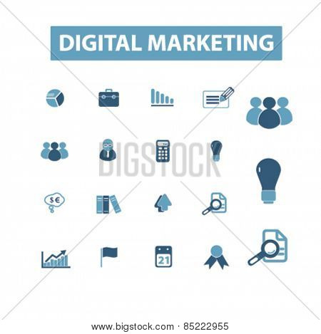 digital marketing, seo icons, signs, illustrations concept design set, vector