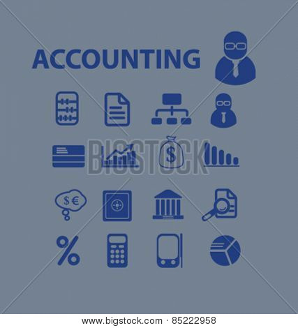 accounting service, finance icons, signs, illustrations concept design set, vector