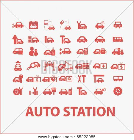 auto station services, cars icons, signs, illustrations concept design set, vector