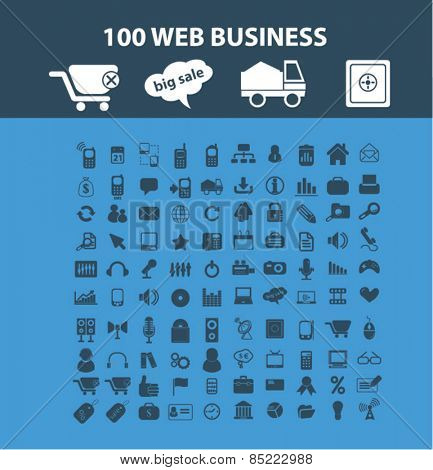 100 web business, internet commerce, shop, logistics icons, signs, illustrations concept design set, vector