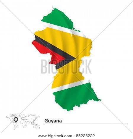 Map of Guyana with flag - vector illustration