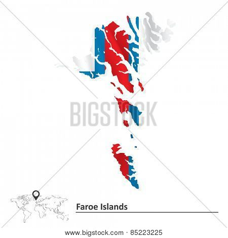 Map of Faroe Islands with flag - vector illustration
