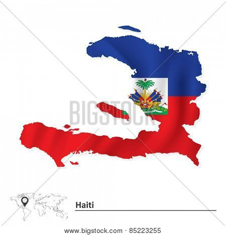 Map of Haiti with flag - vector illustration