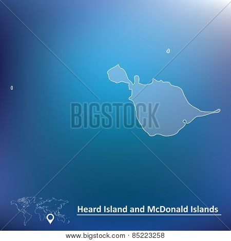 Map of Heard Island and McDonald Islands - vector illustration