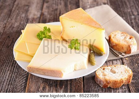 dairy product on wood background