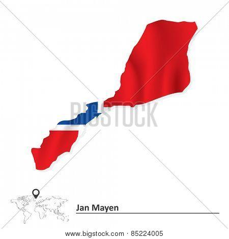 Map of Jan Mayen with flag - vector illustration