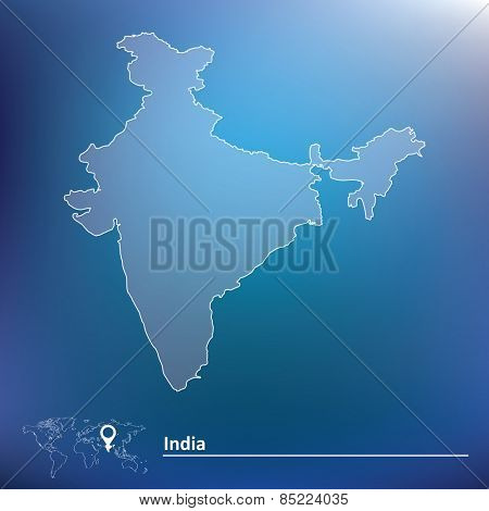 Map of India - vector illustration