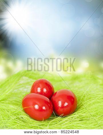 Red Easter eggs on fresh spring background