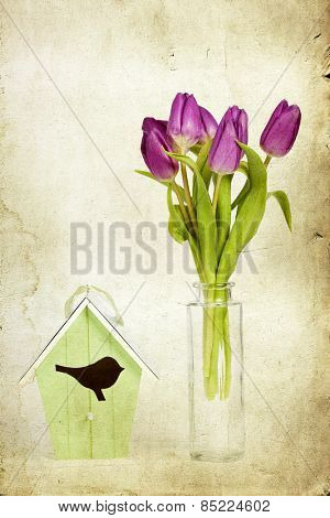 Purple tulips in vase and birdhouse - Vintage photo