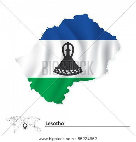 Map of Lesotho with flag - vector illustration