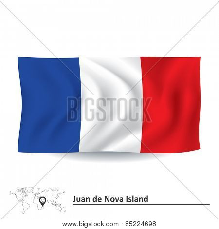 Flag of Juan de Nova Island - vector illustration