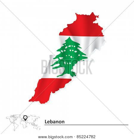 Map of Lebanon with flag - vector illustration